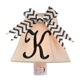 Burlap Bow Monogram K Night Light