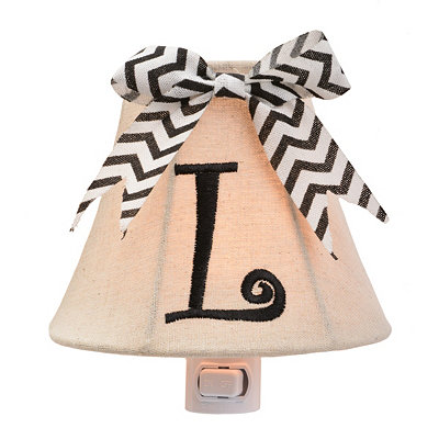 Burlap Bow Monogram L Night Light