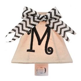 Burlap Bow Monogram M Night Light