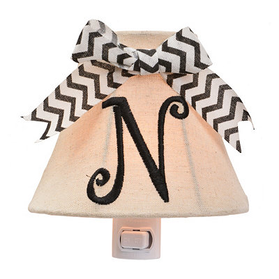 Burlap Bow Monogram N Night Light