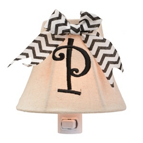 Burlap Bow Monogram P Night Light