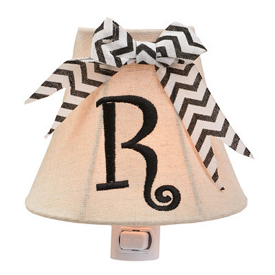 Burlap Bow Monogram R Night Light