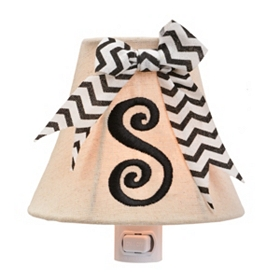 Burlap Bow Monogram S Night Light