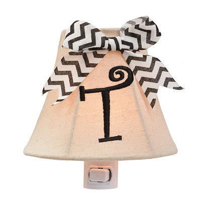 Burlap Bow Monogram T Night Light