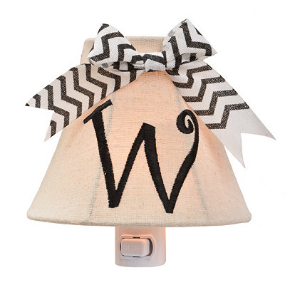 Burlap Bow Monogram W Night Light