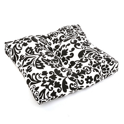 Black Damask Outdoor Ottoman Cushion