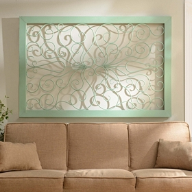 Seafoam Green Scrolled Metal Plaque
