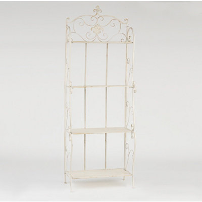 Distressed White Baker's Rack