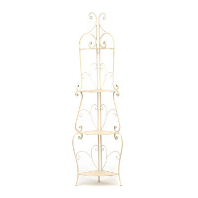 Distressed White Corner Baker's Rack