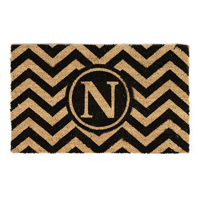 Chevron Monogram N Doormat