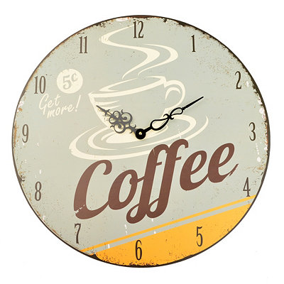 Distressed Gray Coffee Time Clock