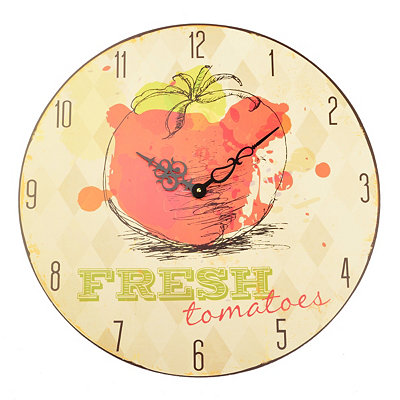 White Argyle Fresh Tomatoes Clock