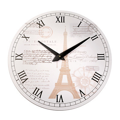 White Postcard from Paris Clock