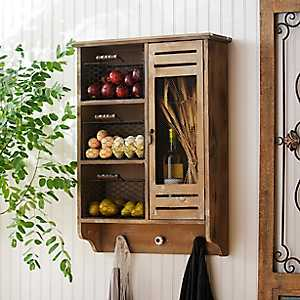 Wood Wall Cabinet with Baskets and Hooks