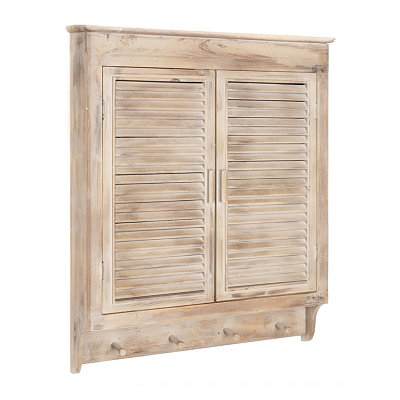 Louvered-Door Wood Wall Cabinet