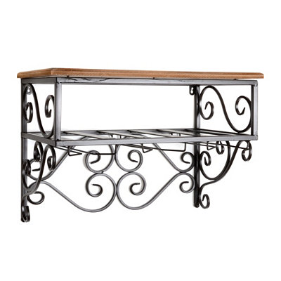 Wood and Metal Scrollwork Shelf