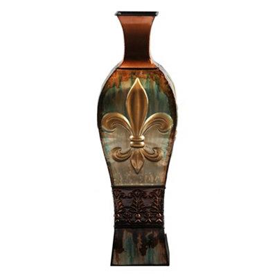 Metallic Fleur-de-lis Floor Vase