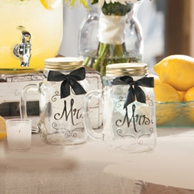 Mr. & Mrs Mason Jar Mugs, Set of 2