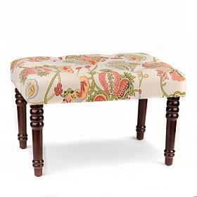 Vintage Floral Linen Ottoman