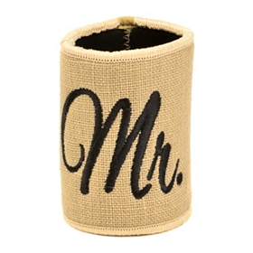 Embroidered Burlap Mr. Koozie