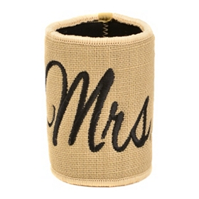 Embroidered Burlap Mrs. Koozie