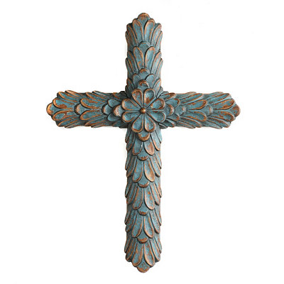 Turquoise Embossed Wooden Cross