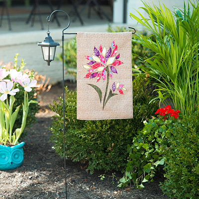 Burlap Patchwork Flower Flag & Lantern Set