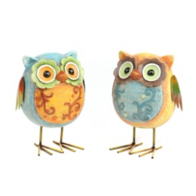 Patchwork Owl Statues