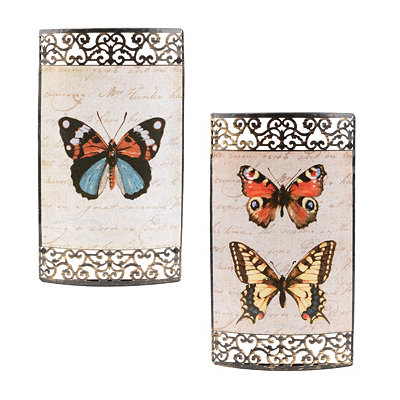 Butterflies Metal Art Plaque, Set of 2