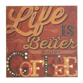 Life is Better with Coffee LED Canvas Art Print