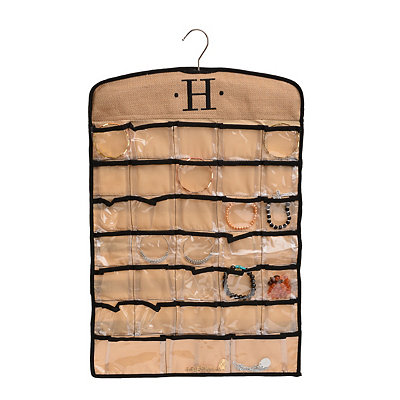 Black & Tan Monogram H Hanging Jewelry Organizer