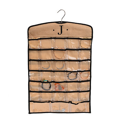 Black & Tan Monogram J Hanging Jewelry Organizer