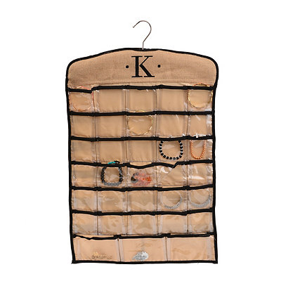 Black & Tan Monogram K Hanging Jewelry Organizer