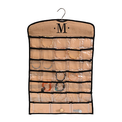 Black & Tan Monogram M Hanging Jewelry Organizer