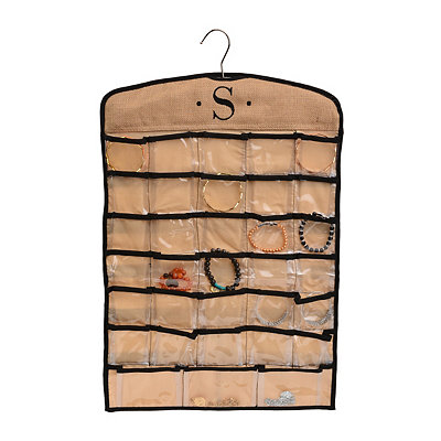 Black & Tan Monogram S Hanging Jewelry Organizer