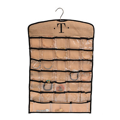 Black & Tan Monogram T Hanging Jewelry Organizer