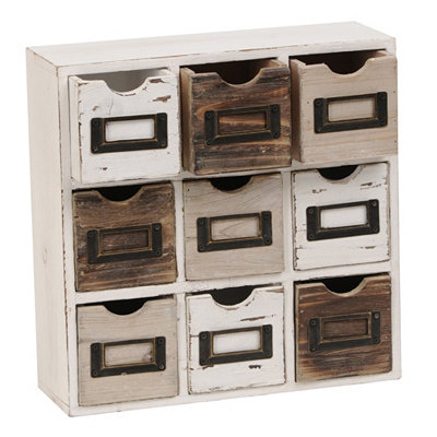Distressed 9-Drawer Box