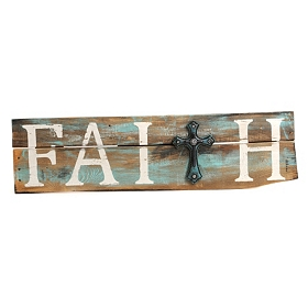 Distressed Natural & Turquoise Faith Plaque