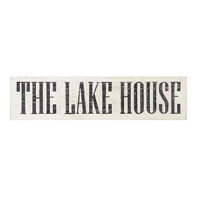 Distressed White Lake House Plaque