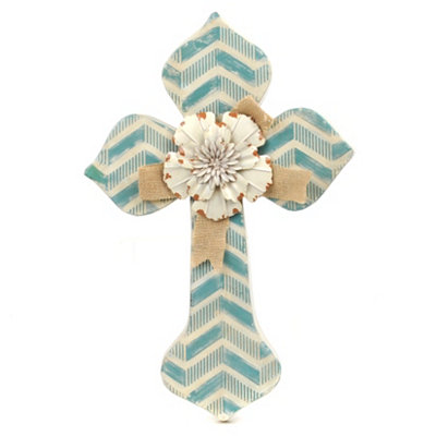 Blue Chevron Cross Plaque
