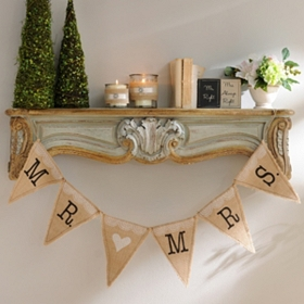 Mr. & Mrs. Burlap Pennant Banners