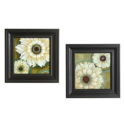 Jeweled White Floral Framed Art Prints, Set of 2