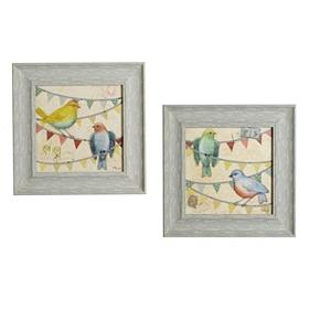 Jeweled Fancy Flock Framed Art Prints, Set of 2