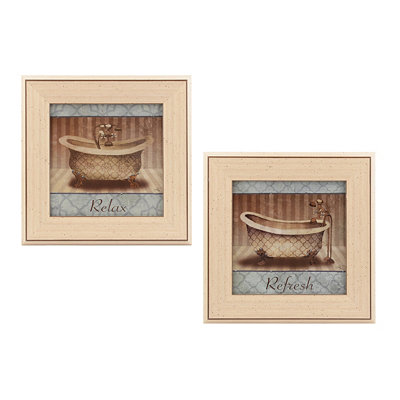 Jeweled Relaxing Bath Framed Art Prints, Set of 2