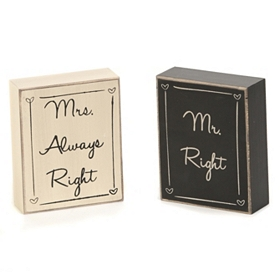 Mr & Mrs Right Plaques