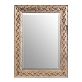 Antique Silver Braided Framed Mirror, 34x46