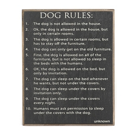 Dog Rules Wall Plaque