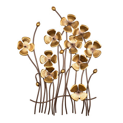 Metal Poppy Bouquet Wall Plaque