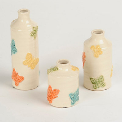 Colorful Embossed Butterfly Vases, Set of 3
