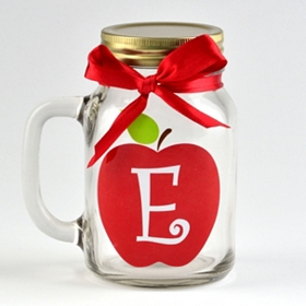 Apple for Teacher Monogram E Mason Jar Mug